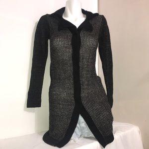 LILIBLEU Dark Brown Woven Knit Sweater Cardigan🧩